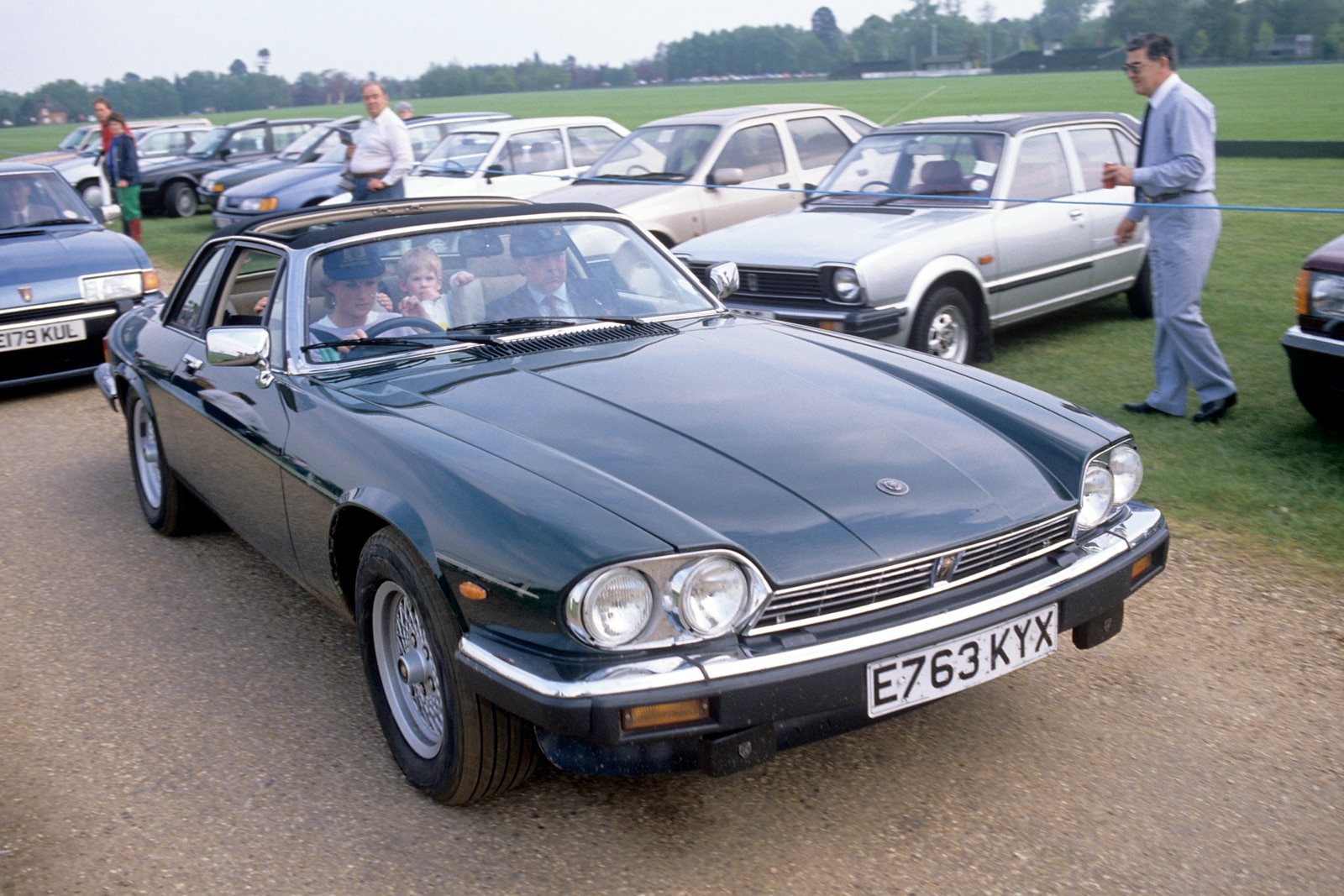 Princess Diana at the wheel of her Jaguar XJS