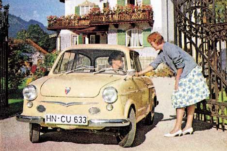 """1958, """"PRINZ I"""". L'antenata della """"Prinz 4"""" è la """"Prinz I"""", sempre a motore posteriore, ma con cilindrata di 583 cm3. Escono poi la """"Prinz II"""", la """"III"""" e la """"30"""". La produzione termina nel 1962 (95.5"""